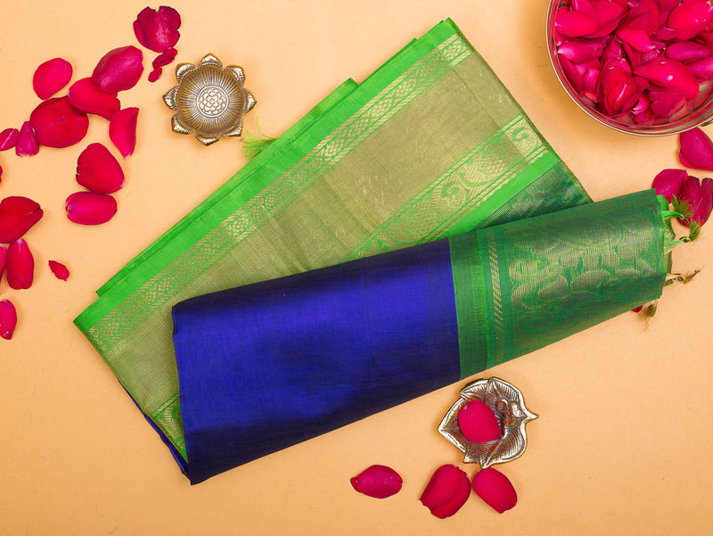 Silk Cotton Saree Blue and Light Green with Elephant Border Korvai