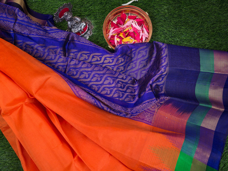Kuppadam Silk Cotton Saree Orange and Dark Blue with Silk Border
