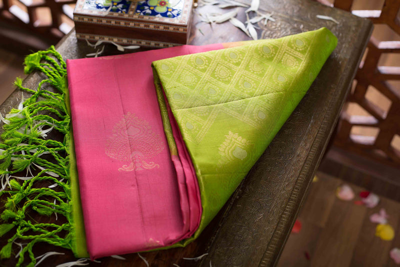 Buy Soft Silk Saree Onion Pink color with Buttas and without border at  Prashanti Sarees for only Rs  7,075 00