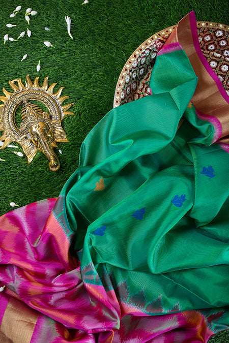 Pure Silk Sarees Green with thread buttas and Pink with ikkat Weaving and zari border