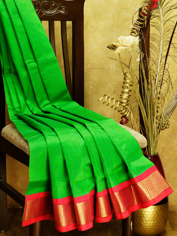 Silk cotton saree green and pink with korvai zari border