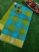 Silk Cotton Paalum Pazhamum Checks Blue & Green with Bavanji Border