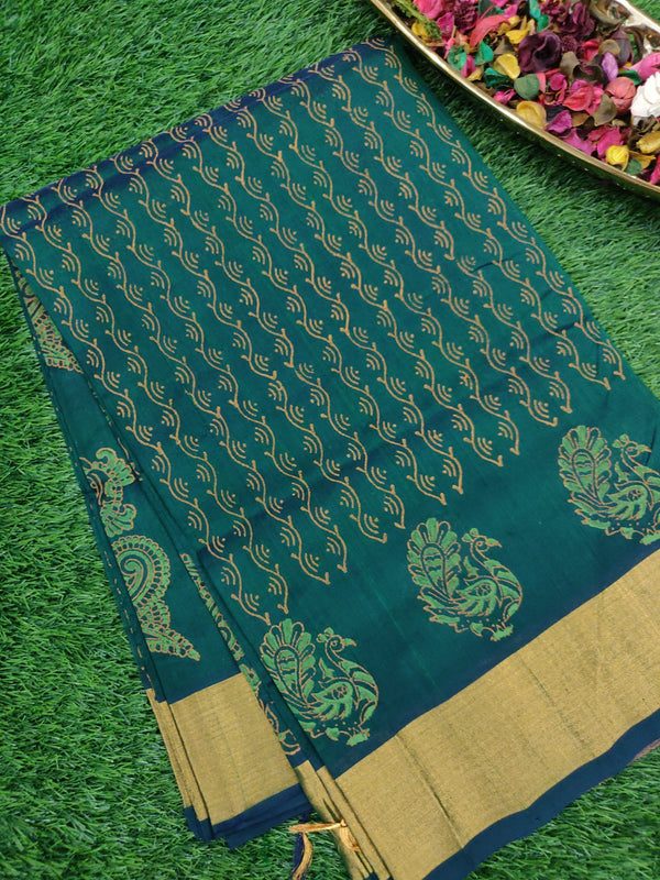Handblock Printed Silk Cotton Saree Bottle Green with All over Pattern