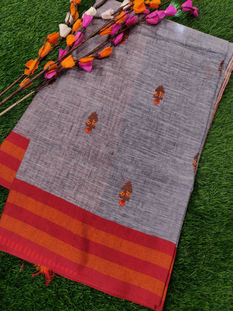 Semi Linen Saree Grey with Red Striped Border with Floral Embroidery