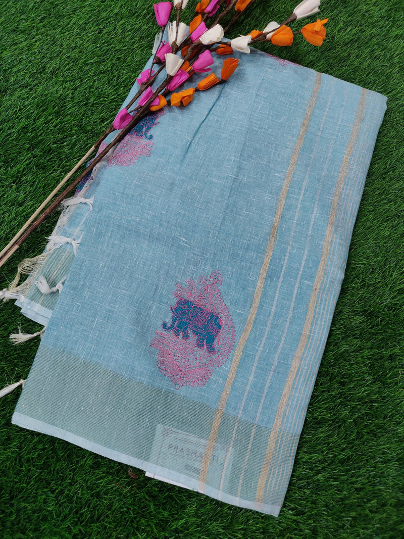 Semi Linen Saree Sky Blue with Kaddi Zari Border with Elephant Embroidery