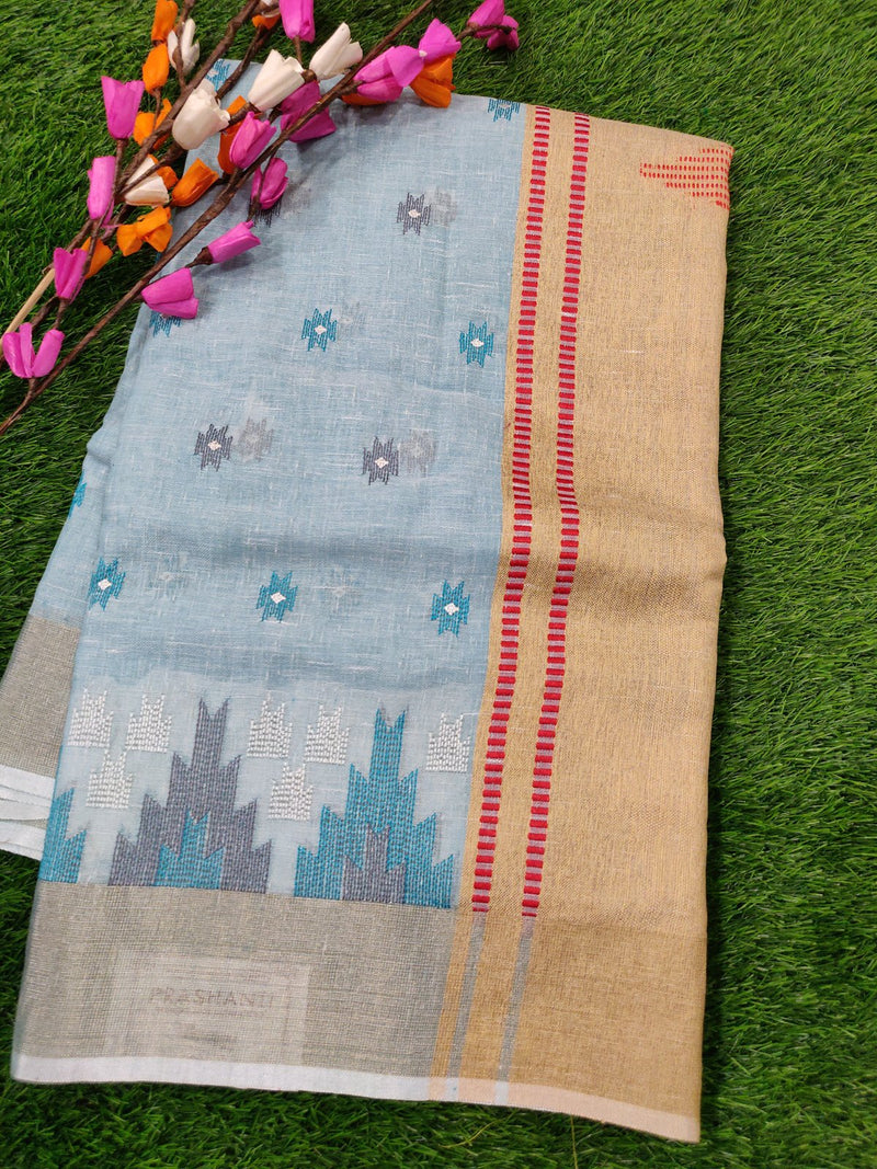 Semi Linen Saree Sky Blue with Temple Thread Embroidery