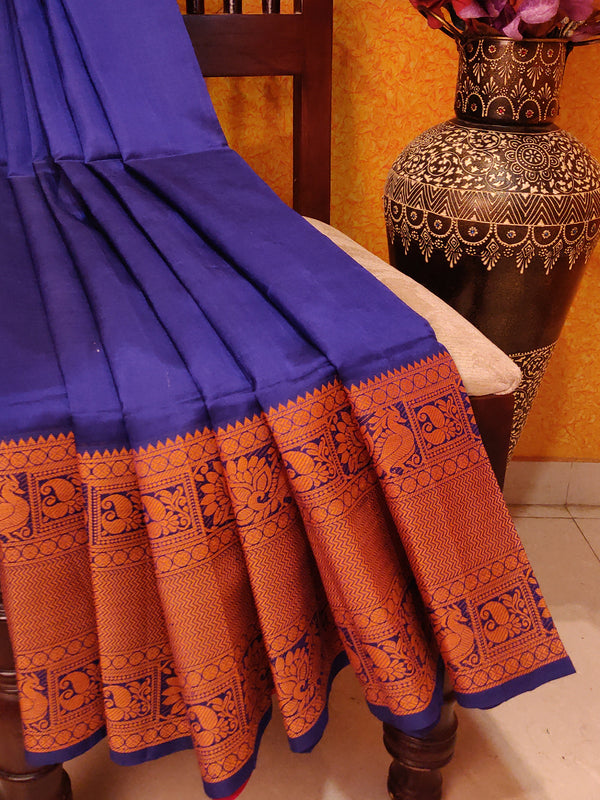 Lightweight Silk Cotton Jacquard Saree Navy Blue & Red with Thread Woven Border