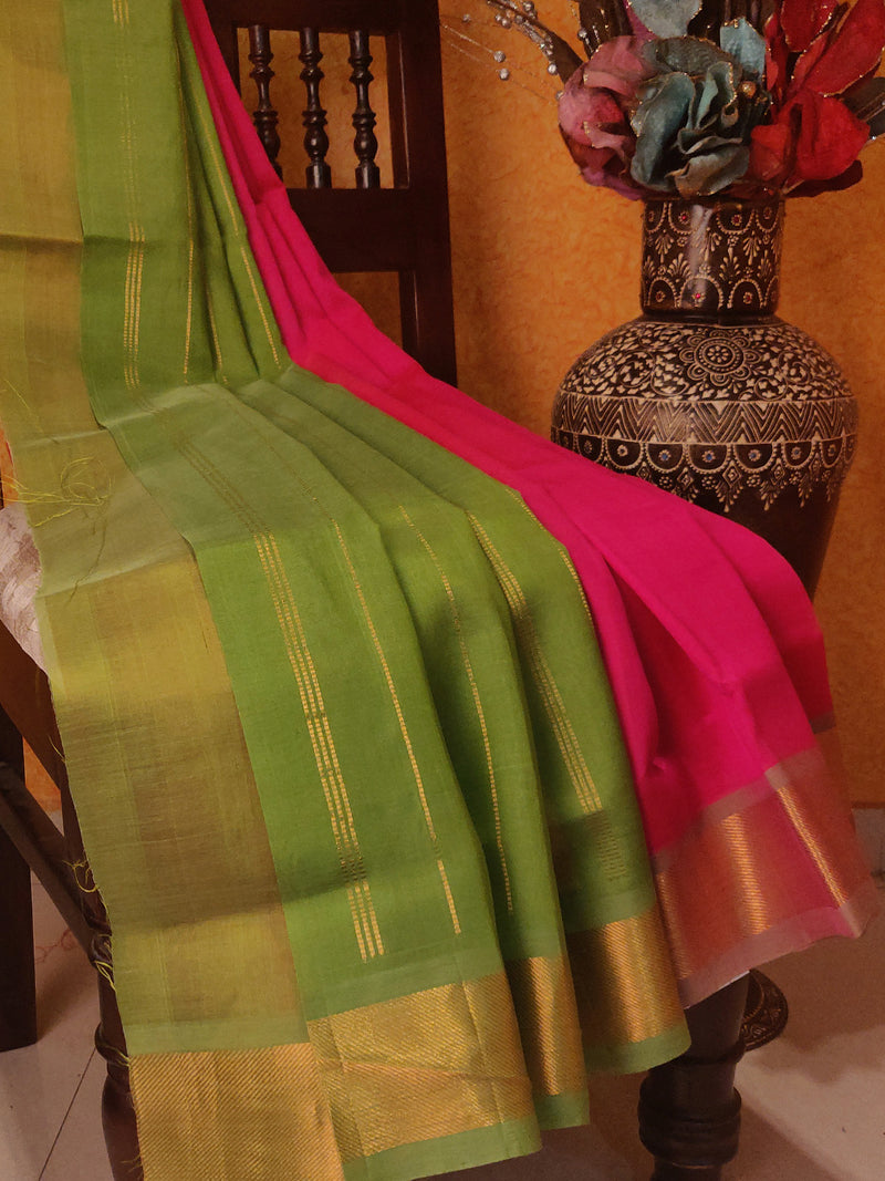 Silk Cotton Saree Pink & Green with Bavanji Border