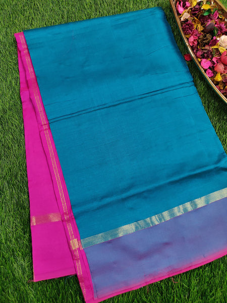 Semi Silk Cotton Saree peacock green & pink with kaddi zari border