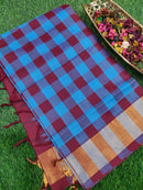 Semi Silk Cotton Saree blue & maroon checked body & kadddi zari border