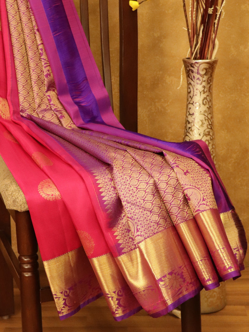 Pure Kanjivaram SIlk Saree pink and purple woth traditional zari border and zari butta