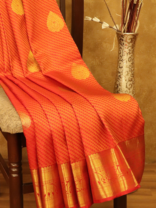 Pure Kanjivaram SIlk Saree red with self woven pattern and floral zari butta with elephatnt zari border