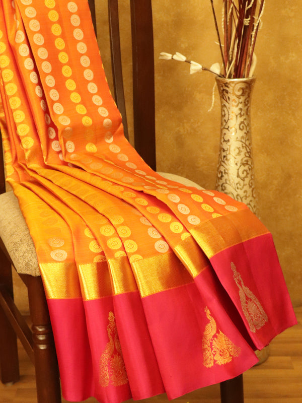 Pure Kanjivaram SIlk Saree golden yellow and pink with 1000 butta in gold and silver zari with korvai border