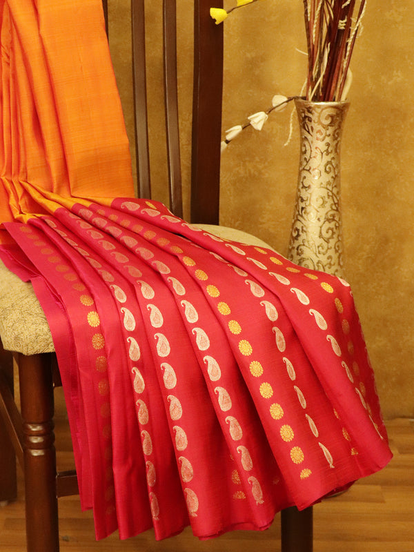 Pure Kanjivaram SIlk Saree golden yellow and pink in half and half style with gold and silver buttas