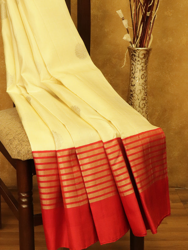 Pure Kanjivaram SIlk Saree off white and red with silver lines in korvai border and zari buttas