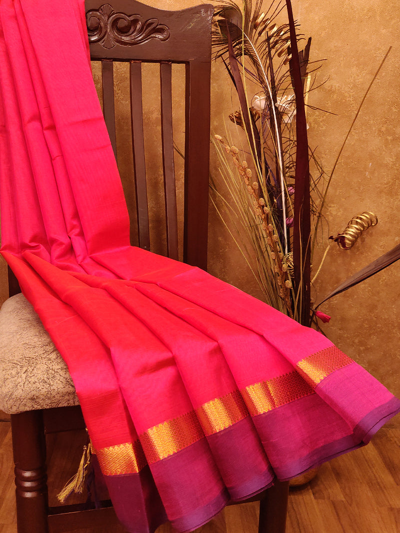 Silk Cotton Saree tomato pink and violet with Simple Zari Border