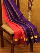 Silk Cotton Saree peachish pink and violet with Simple Zari Border