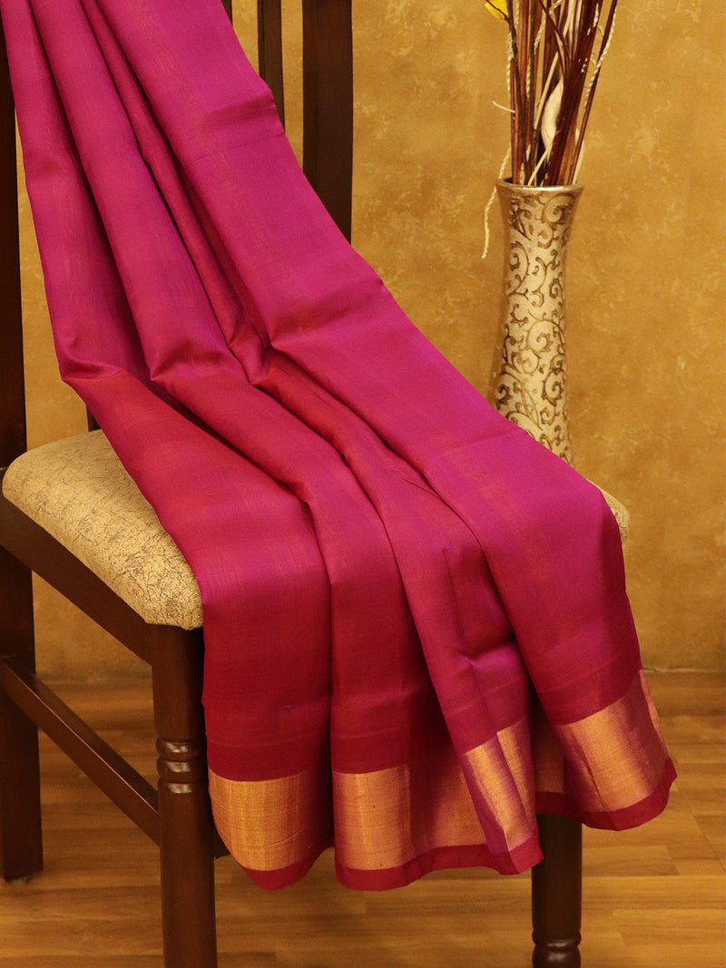 Silk Cotton Saree Purple & Mustard Partly checked Pallu & Checked Blouse with Kaddi Zari Border