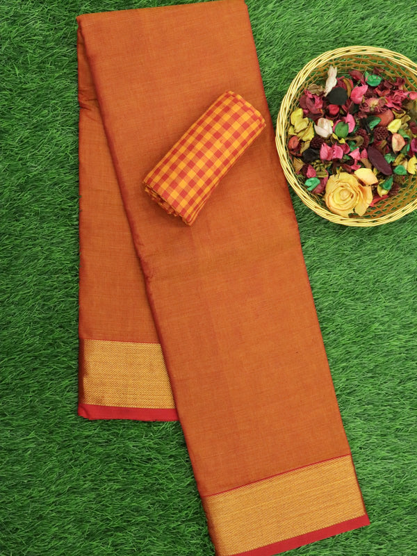 Narayanpet Cotton Sarees rust orange and red with kaddi zari border and checked blouse