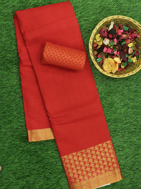 Narayanpet Cotton Sarees red with paisley golden zari border and brocade blouse