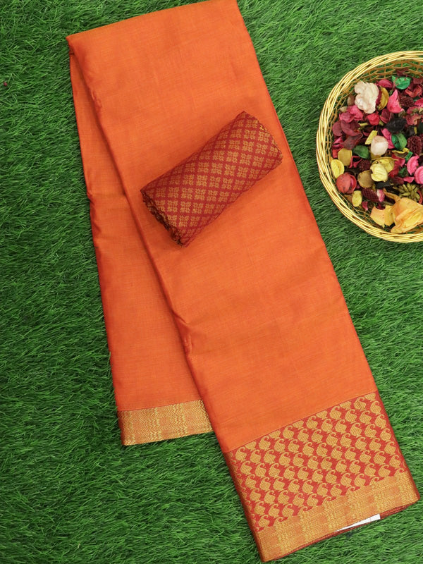 Narayanpet Cotton Sarees orange with paisley golden zari border and brocade blouse