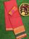 Narayanpet Cotton Sarees pink with double colour long peacock zari border and checked blouse