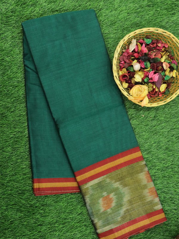 Narayanpet Cotton Sarees green  with ikkat golden zari border