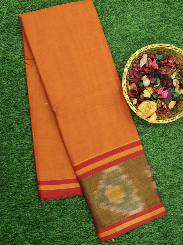 Narayanpet Cotton Sarees rust orange with ikkat golden zari border