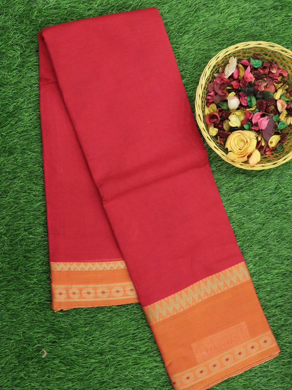 Narayanpet Cotton Sarees red and orange with thread woven border