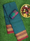 Narayanpet Cotton Sarees peacock green and magenta with golden zari temple border and checked blouse