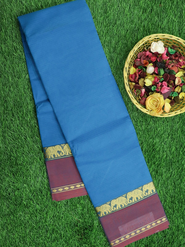 Narayanpet Cotton Sarees cs blue and pink with retta pet elephant zari border