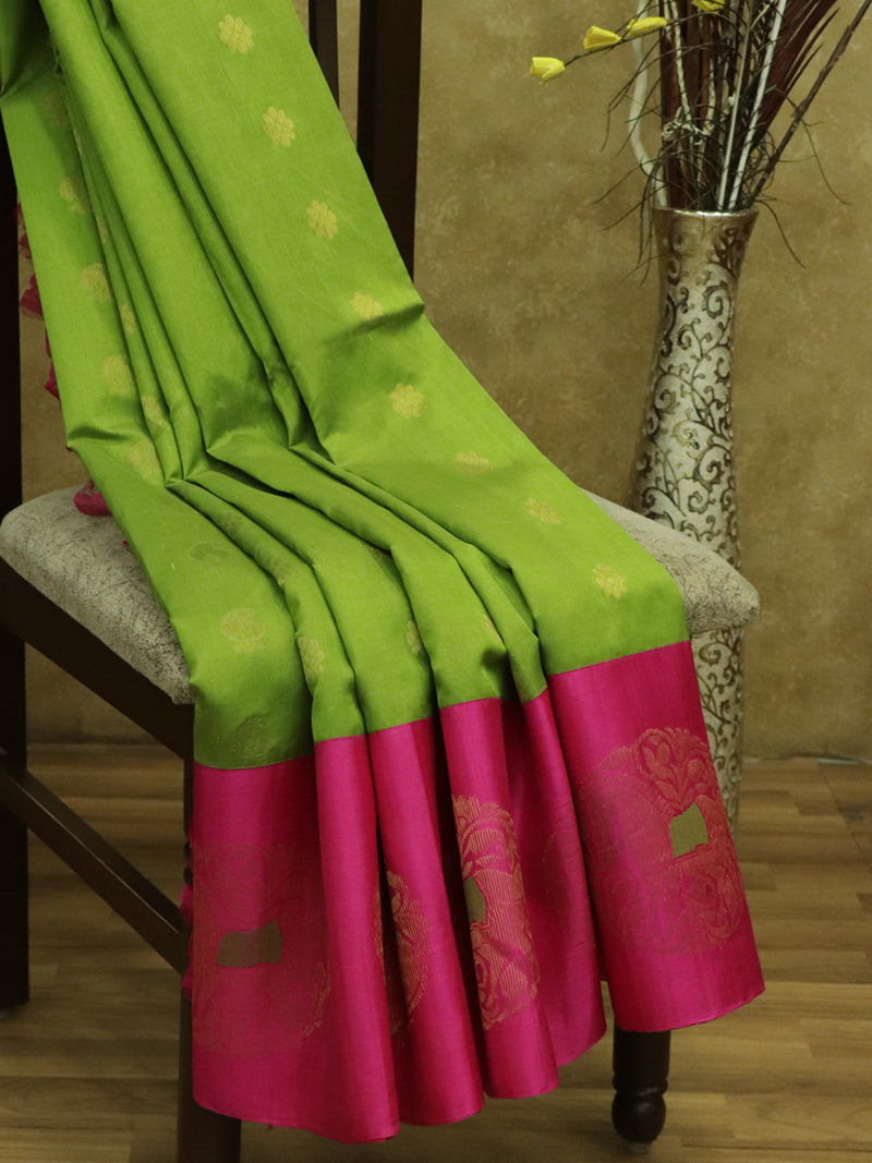 Kuppadam silk cotton sarees green and pink with overall thread buttas and korvai peacock zari border