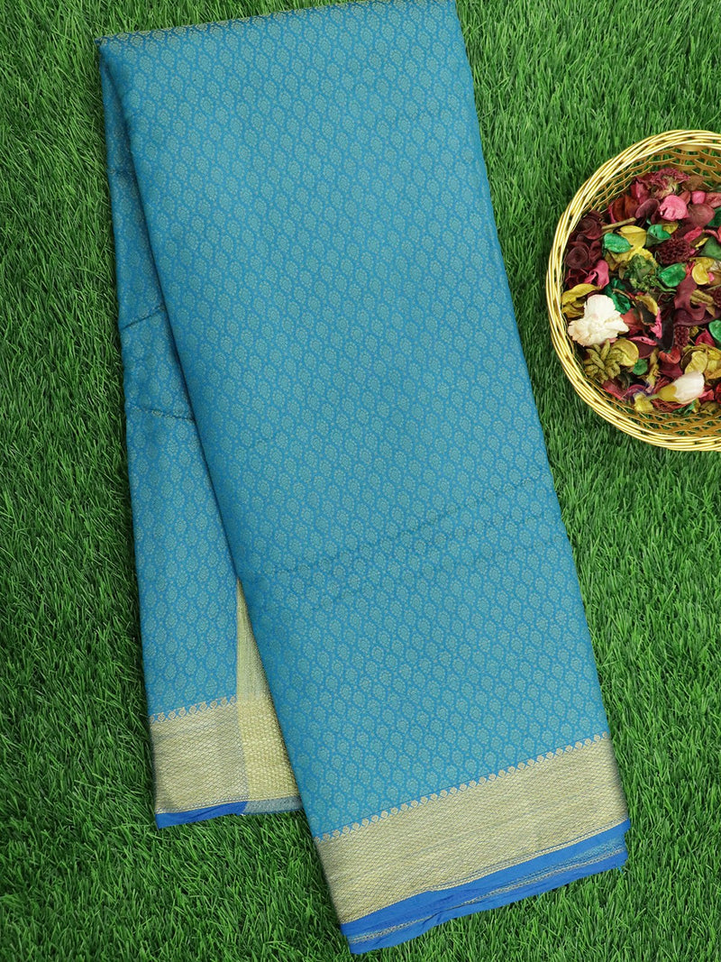 Semi Raw silk saree CS blue with allover thread buttas and zari woven border