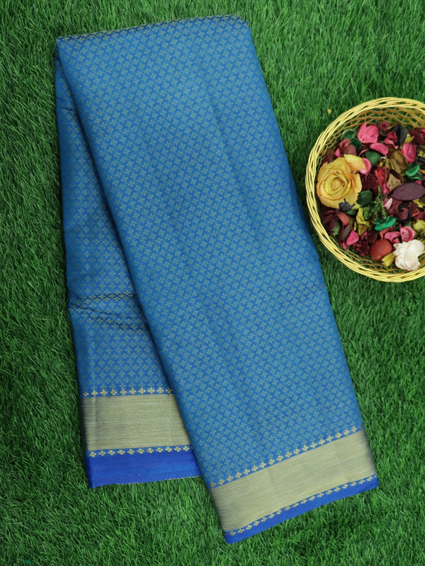 Semi Raw silk saree cs blue with all over floral pattern and bavanji border for Rs.Rs. 1100.00 | Semi Raw Silk Sarees by Prashanti Sarees
