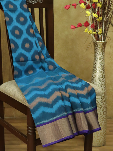 Ikkat Silk Cotton saree peacock blue and navy blue with all over ikkat weaves and kaddi zari border