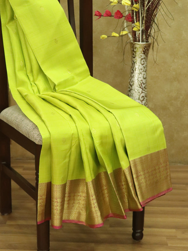 Pure Kanjivaram silk saree lime green and pink with golden zari buttas and border