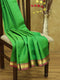 Pure Kanjivaram silk saree parrot green and magenta with plain body and golden zari simple border