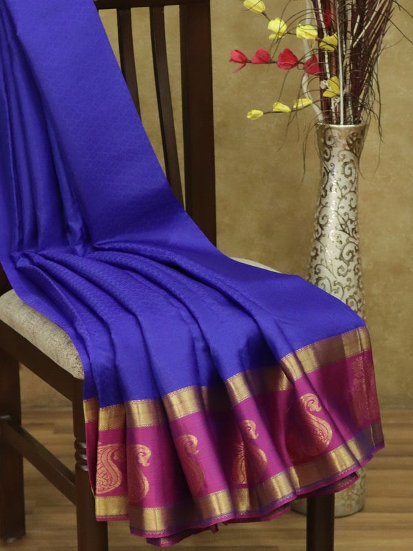 Pure Kanjivaram silk saree blue and pink with allover self emboss and zari woven peacock paisley butta border