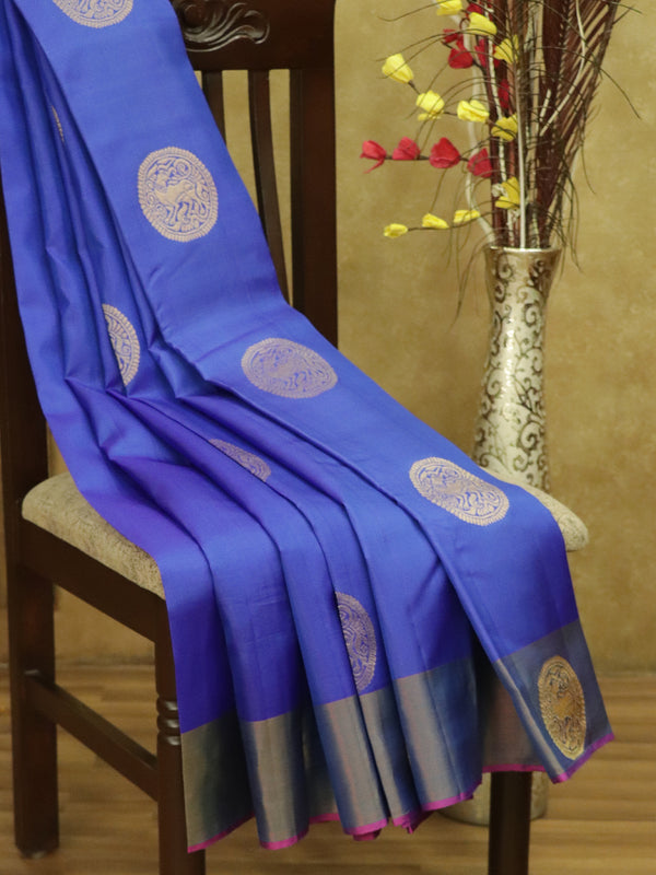 Pure Kanjivaram silk saree blue and magenta with zari motifs and plain border