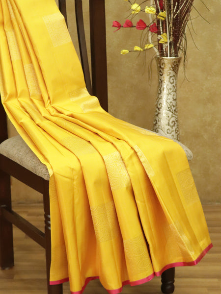 Pure Kanjivaram silk saree mango yellow and pink with box buttas in borderless style