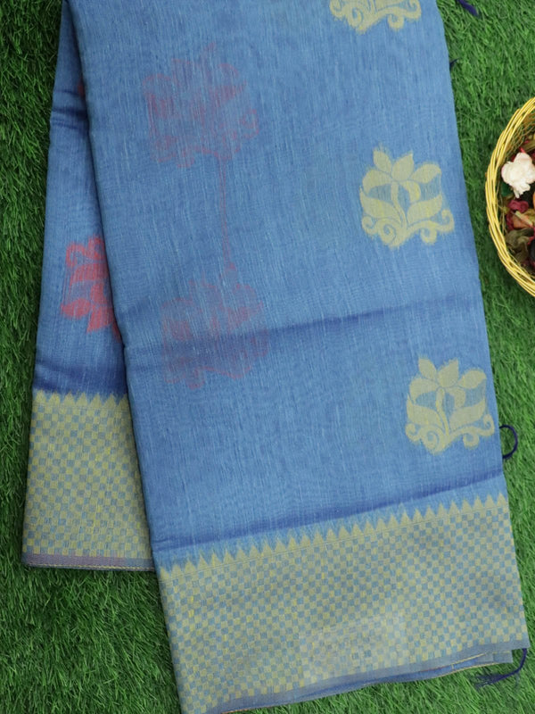 Silk Linen saree blue with checked woven border and floral thread buttas