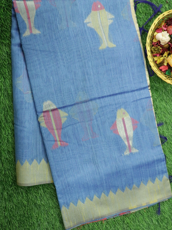 Silk Linen saree blue with temple thread border and fish motifs