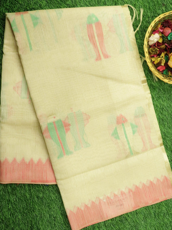 Silk Linen saree off white with geometric border and all over thread weave