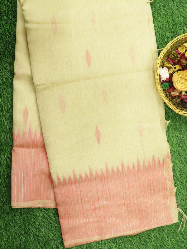 Silk Linen saree off white temple thread woven border