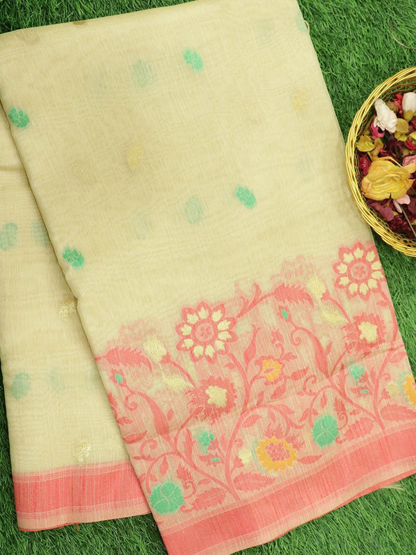 Silk Linen saree off white with floral thread woven border and floral buttas