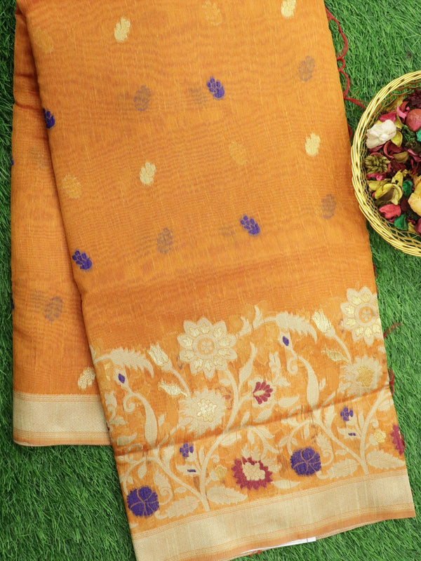 Silk Linen saree orange with floral thread woven border and floral buttas