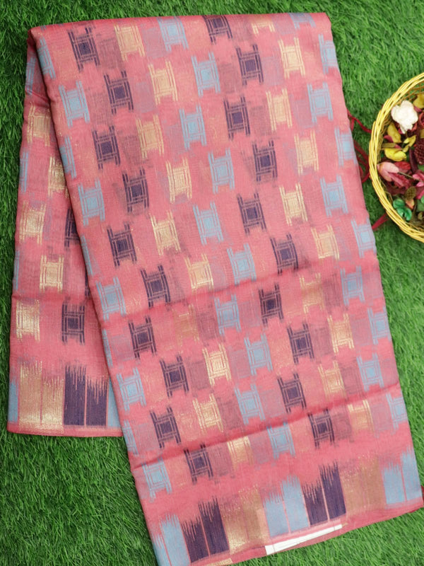 Silk Linen saree pink with zari and thread woven buttas borderless style