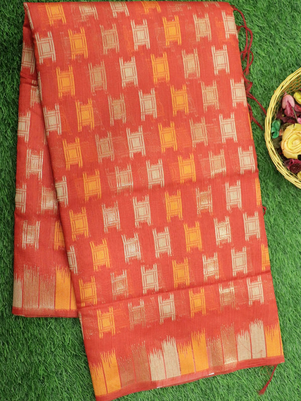 Silk Linen saree red with zari and thread woven buttas borderless style