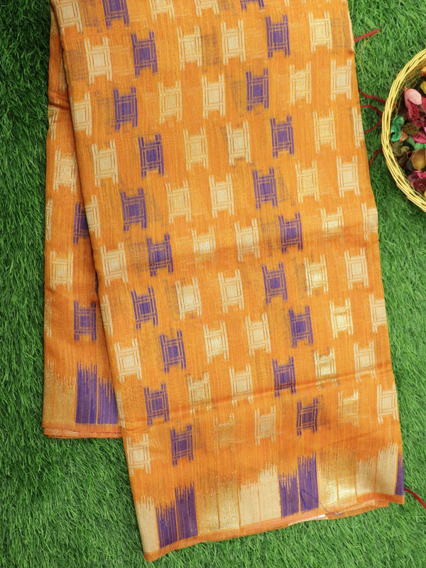 Silk Linen saree orange with zari and thread woven buttas borderless style