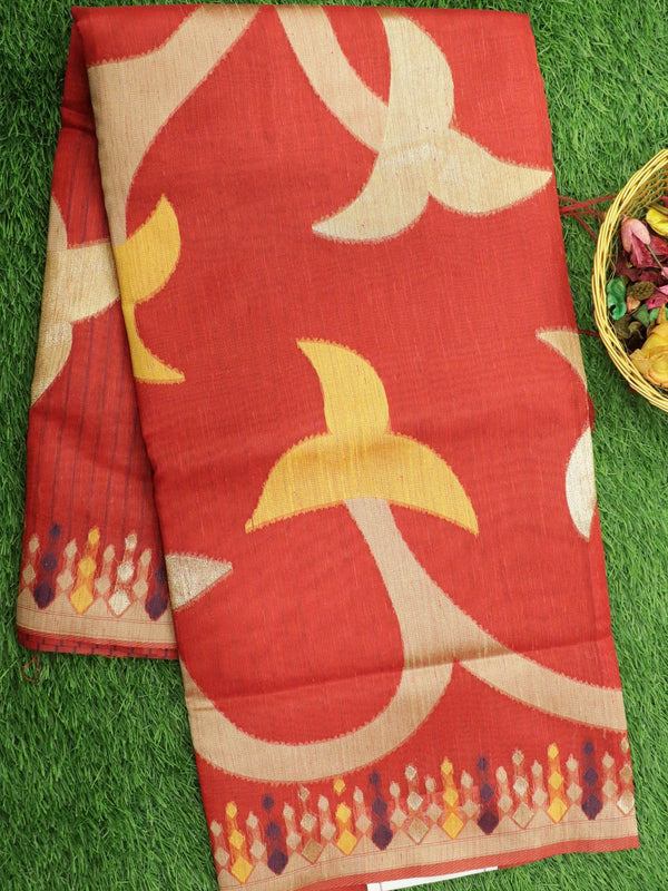 Silk Linen saree red with zari and thread woven floral buttas borderless style